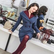 30-Винтаж 50s стильный 2 шт набор в синем элегантном лодке шеи куртка Высокая талия виггл наборы юбок-карандашей размера плюс пальто