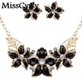 MissCyCy 2016 Fine Shiny Elegant Temperament  Fashion Flower Drip Rhinestone Necklace Suits For Women