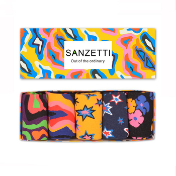 SANZETTI 5 pair/lot Gift Box Funny Men's Combed Cotton Crew Brand Skateboard Socks Colorful Novelty Dress Casual Happy Socks 5