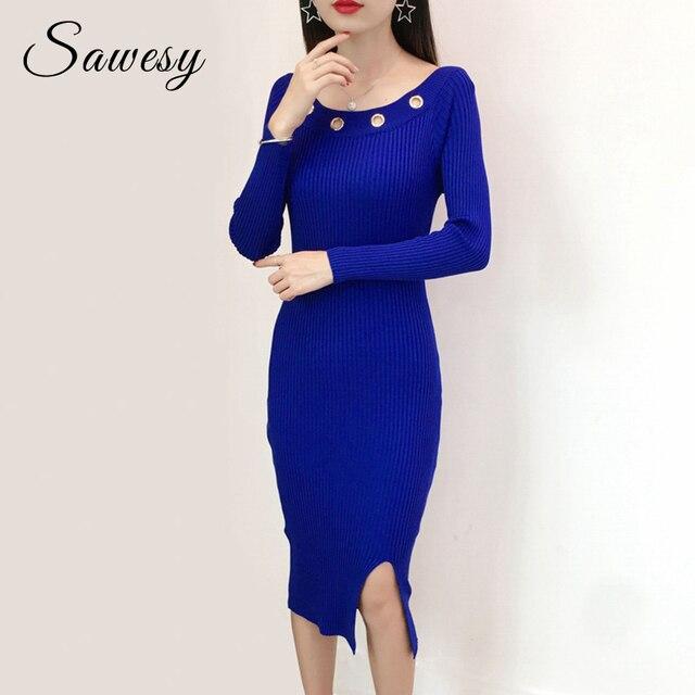 816f97130bb0 Autumn Winter Sexy Bodycon Dress Women Vestido 2018 Fashion Long Sleeve Off  Shoulder Sweater Dresses Knitting Slit Midi Dress