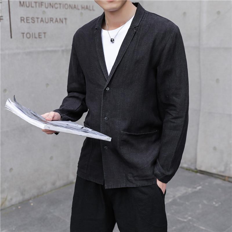 Hommes veste 2019 printemps et automne nouveau costume veste chinois vent disque boucle Tang costume jeunesse hommes veste décontracté vêtements pour hommes