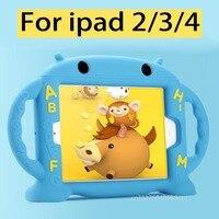 Nowy 2017 Case for iPad 2/3/4 Cartoon 3D miękkiego Silikonu wstrząsoodporny Tabeli Stojak Case dla iPad 3 dziecko Dzieci Bezpieczne dla iPad 4