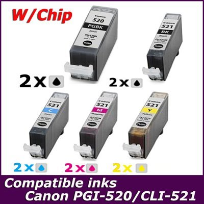 Free shipping 10PK chip installed PGI-520 PGI-520BK CLI-521BK/C/M/Y inkjet cartridge for Canon MP540, MP550, MP620, MP630, MP640