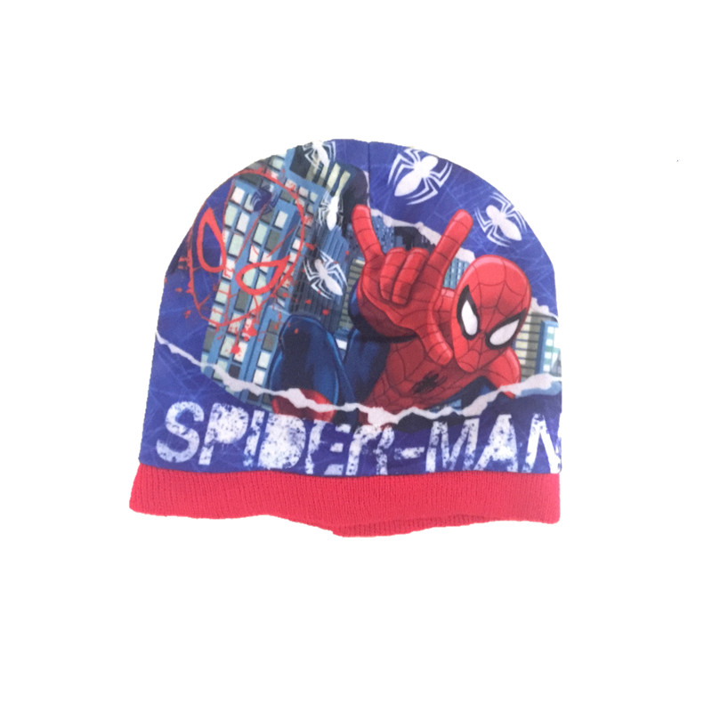 Handmade The Autumn Winter spiderman Knitted crochet Hat + scarf + gloves Children Hat Set Children Christmas presents