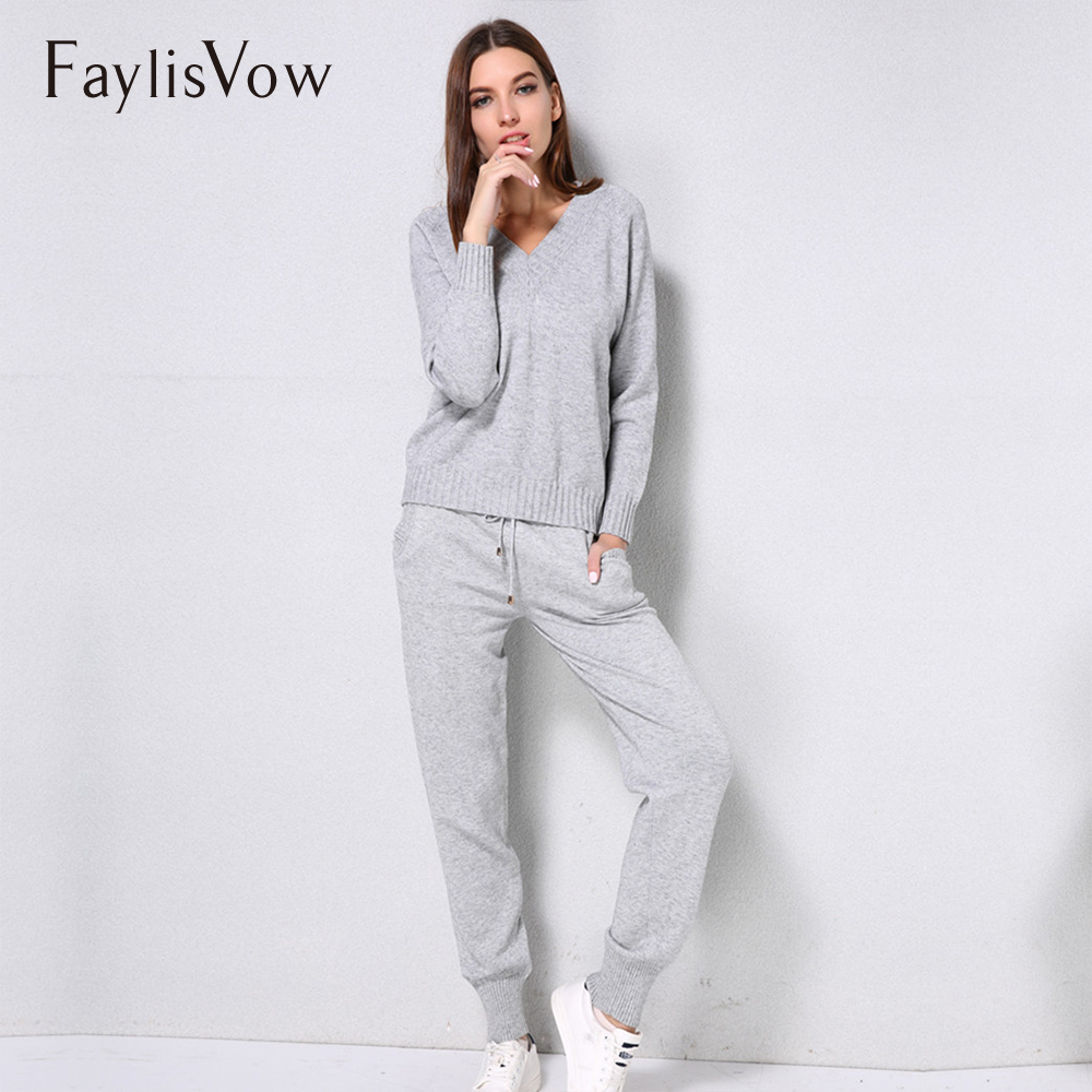 V Neck Knitted Sweaters Pants 2PCS Tracksuit Women Long Sleeve Pullover Trousers Sets Casual Warm House Suit Women Tracksuits