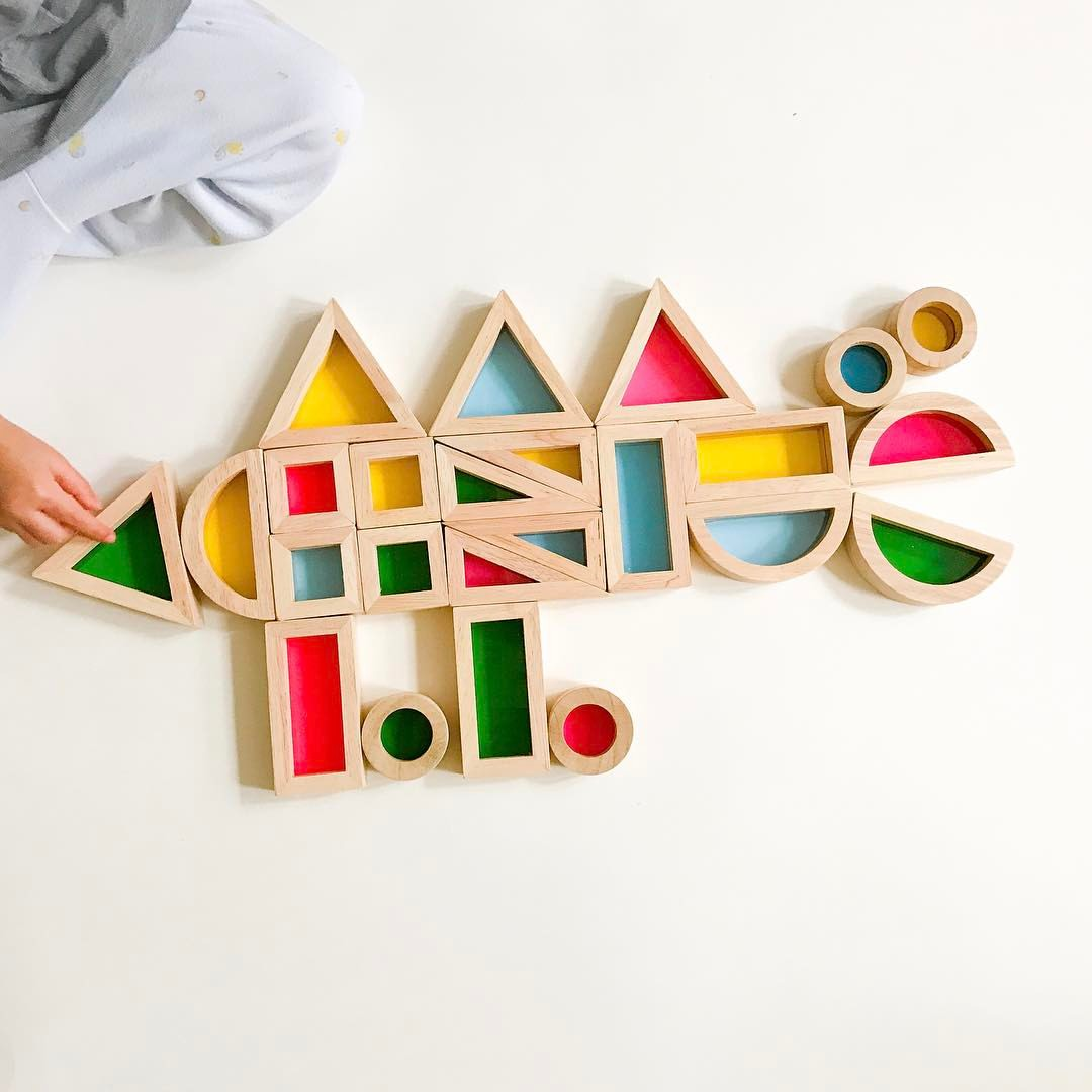 BOHS Rainbow Acrylic Blocks Wooden Toys For Children Learning 24PC SET in Blocks from Toys Hobbies