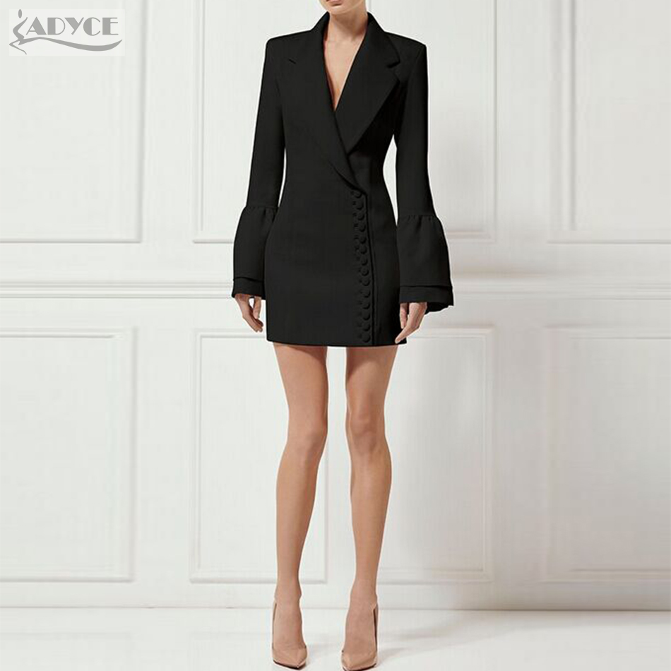 Adyce 2018 New Women Slim Trench Black White V-Neck Single Breasted Petal Sleeve Long Style Fashion Women Out Wear Coats