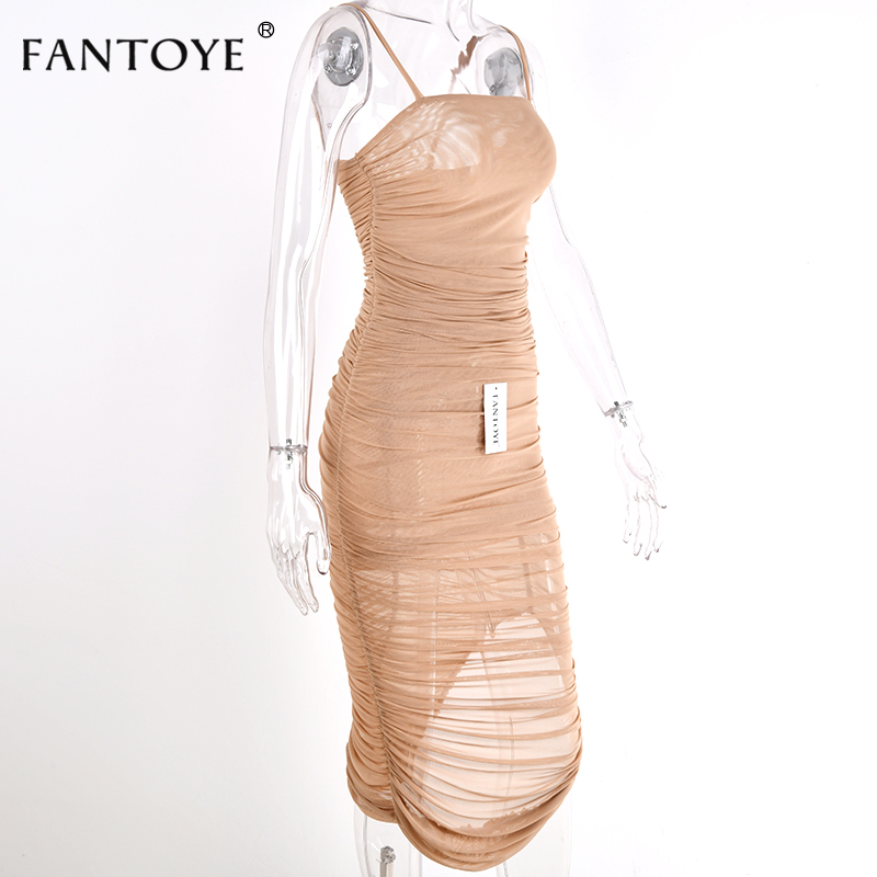 Fantoye Ruched Sheer Sexy Party Dress Women 18 Strapless Slit Long Maxi Dress Elgant Summer Autumn Bodycon Club Wear Vestidos 14