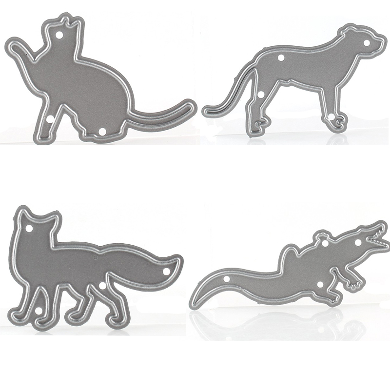 6pcsset Metal Cutting Dies Cat Fox Gecko Tiger Scrapbook Album