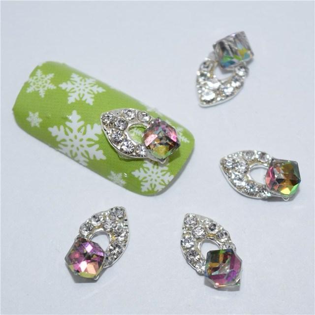 10Pcs new Large pieces of glitter rhinestones, 3D Metal Alloy Nail ...