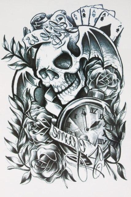 Карта с Череп Крылья татуировки 21x15 см размер пикантные красивые Красота татуировки Водонепроницаемый Горячие Временные татуировки Наклейки