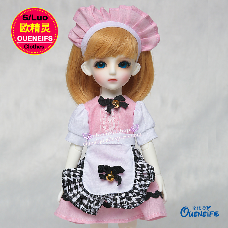OUENEIFS free shipping outfit Pink dresses Plaid aprons Anime uniforms Temptations1/6 bjd sd doll clothes,no doll or wig YF6-66 karmart cathy doll 2 in 1 vitamin c tint tinted gluta gloss pink lip korea free shipping