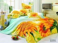 3D 해바라기 침구 세트 노란색 꽃 퀸 사이즈 더블 이불 이불 커버 침대 시트 침대보 홑이불 린넨 doona