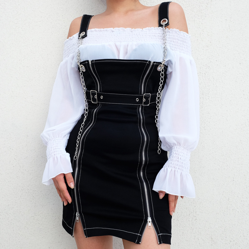 Women Gothic Zipper Up Front Chain Strap Underbust Black Jumper Dress Overall Off Shoulder Punk Female Suspender Backless Dress Рюкзак