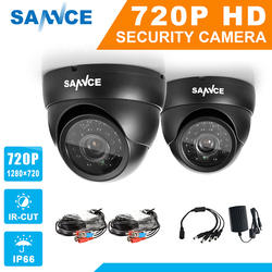 SANNCE AHD 720P 2PCS 1200TVL Dome CCTV Camera Suite 1.0MP Waterproof IR-Cut Night Vision Camera For Surveillance System Kit BC