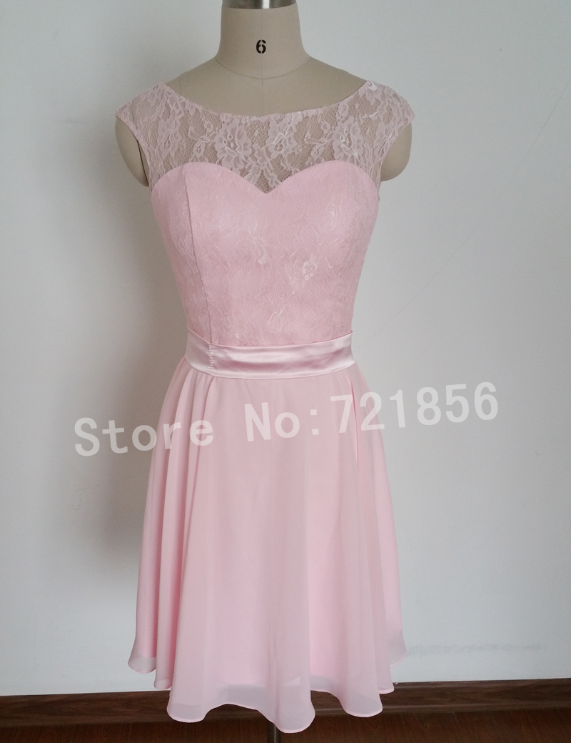 2015 pink lace and chiffon short girls bridesmaid dresses for Coral colored wedding dresses