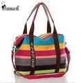 New fashion colors stripe big canvas women handbag High capacity Travel Bags trendy useful Shopping bag WLHB237