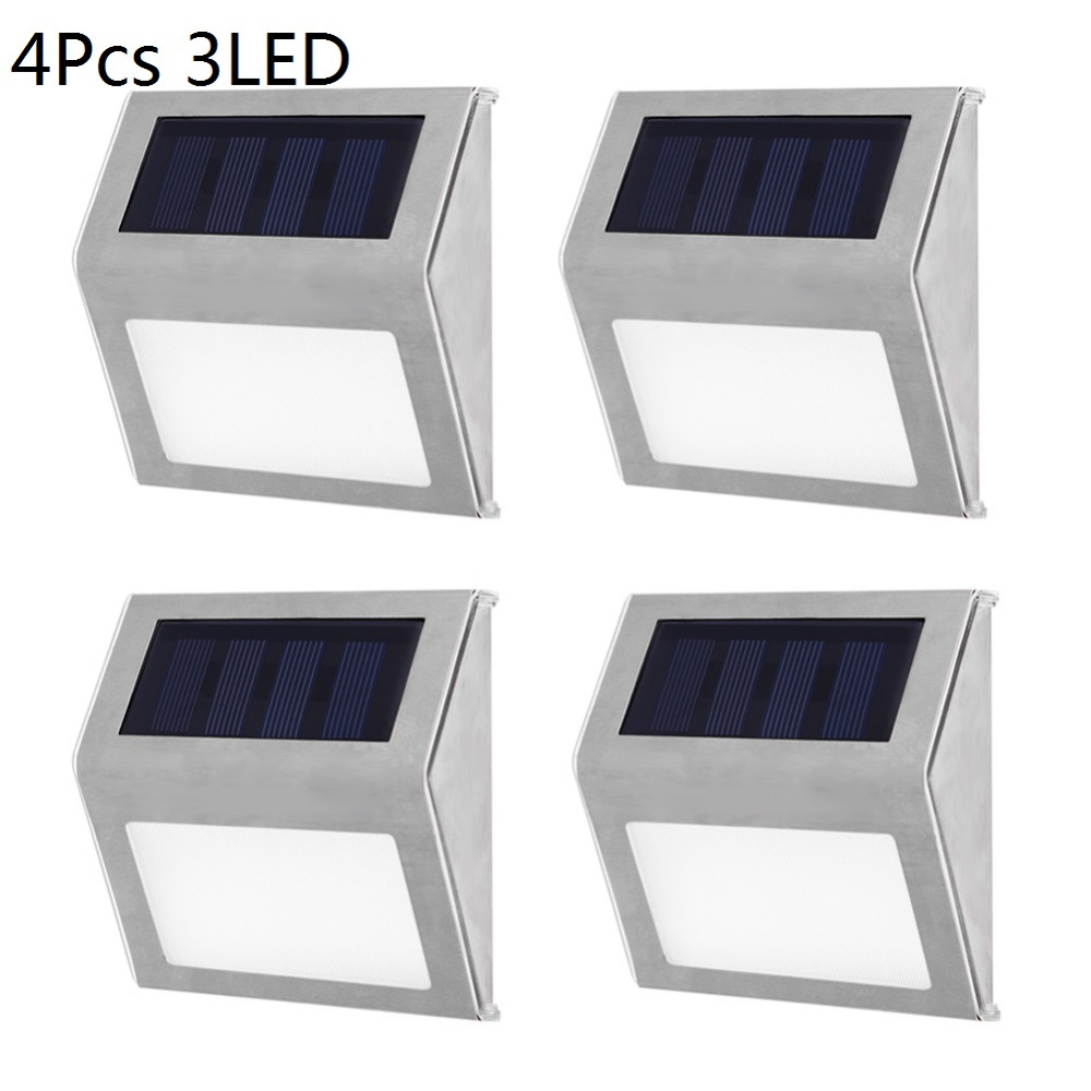 1-4pcs 3LED Solar Light Stainless Steel Solar Power Outdoor Waterproof Courtyard Pathway Stairs Lamp Light Energy Saving Lights