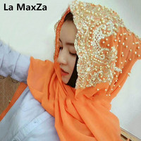 Hijabs Muslim Islamic Scarf Scarves for Woman Long Underscarf Moslima Solid Color with Bead Prayer Turbante mujer black turban