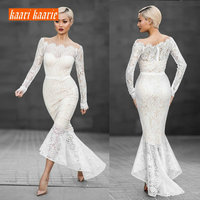 Fashion Ivory Mermaid Evening Dresses Long 2019 Evening Party Gown Women Boat Neck Lace Zipper Ever Pretty Slim Fit Prom Dress