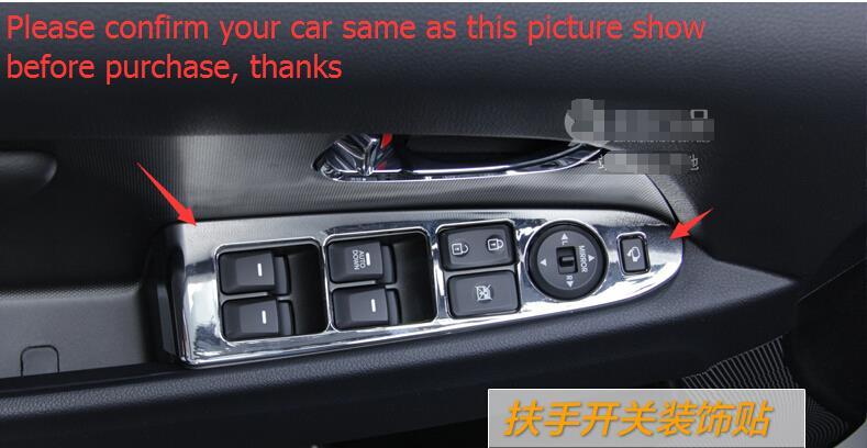 For Kia Sportage 2011 - 2015 high Equipped Model ! ABS Armrest Window Glass Lift Button Panel Decor Frame Cover Trim 4 pcs / set внешние аксессуары myhung kia sportage 2010 2011 r abs 4