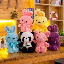 30cm Cute Candy Colors Rabbit Short Plush Toys Stuffed Animal Panda Doll Children Toy Girls Birthday Gift