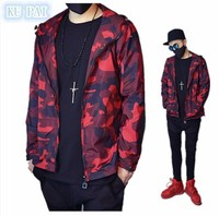 201 spring European and American retro street wind red camouflage loose hood tide male zipper jacket leisure baseball clothing