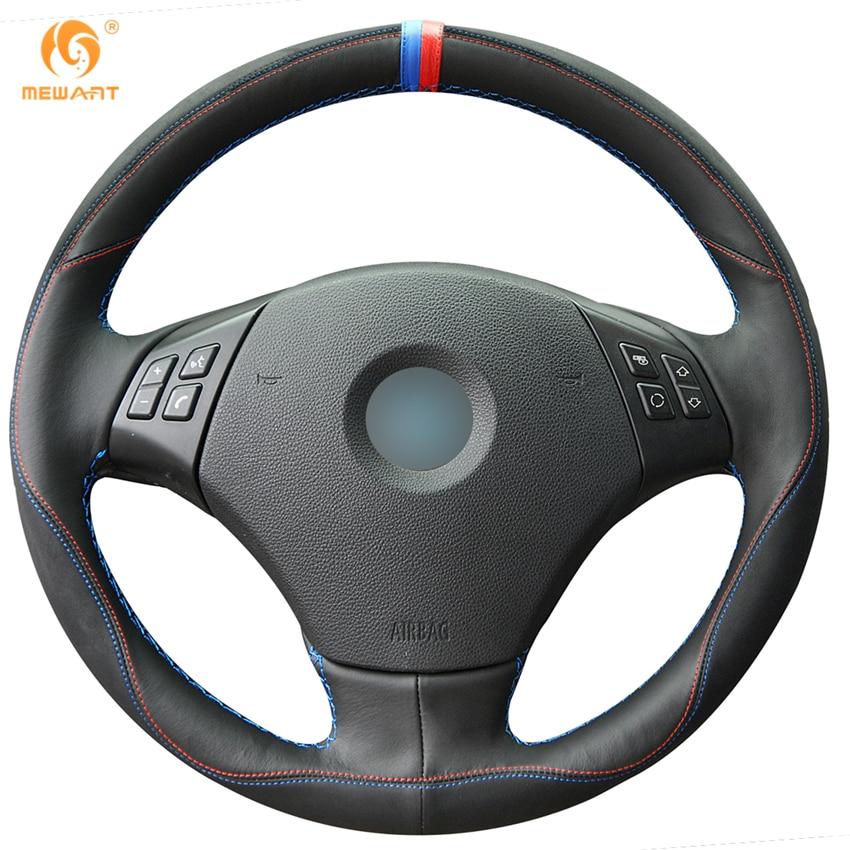 MEWANT Black Leather Black Suede Car Steering Wheel Cover for BMW E90 320 318i 320i 325i 330i 320d X1 328xi 2007 спойлер bmw e90 318i 320i 325i 330i m3