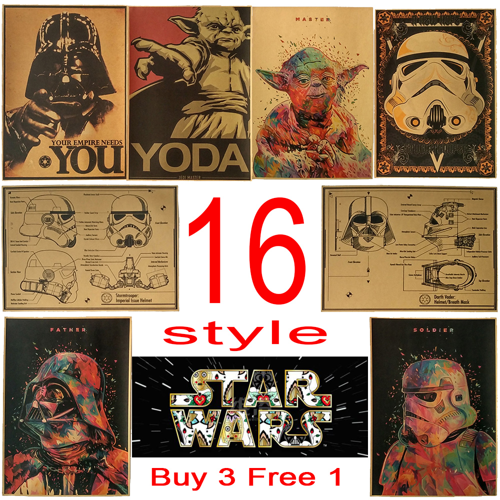 vintage poster star wars movie retro poster kraft paper. Black Bedroom Furniture Sets. Home Design Ideas