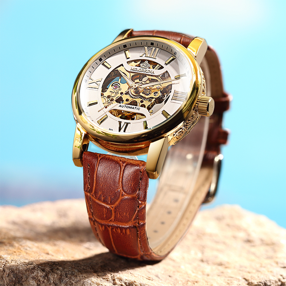 ORKINA 2018 Male Clock Luxury Gold Tone Carved Case Skeleton Mechanical Men's Wrist Watch Leather Band Automatic Relojes Hombre orkina male watches skeleton auto mechanical men wrist watch mesh band heren uhr automatic wristwatches