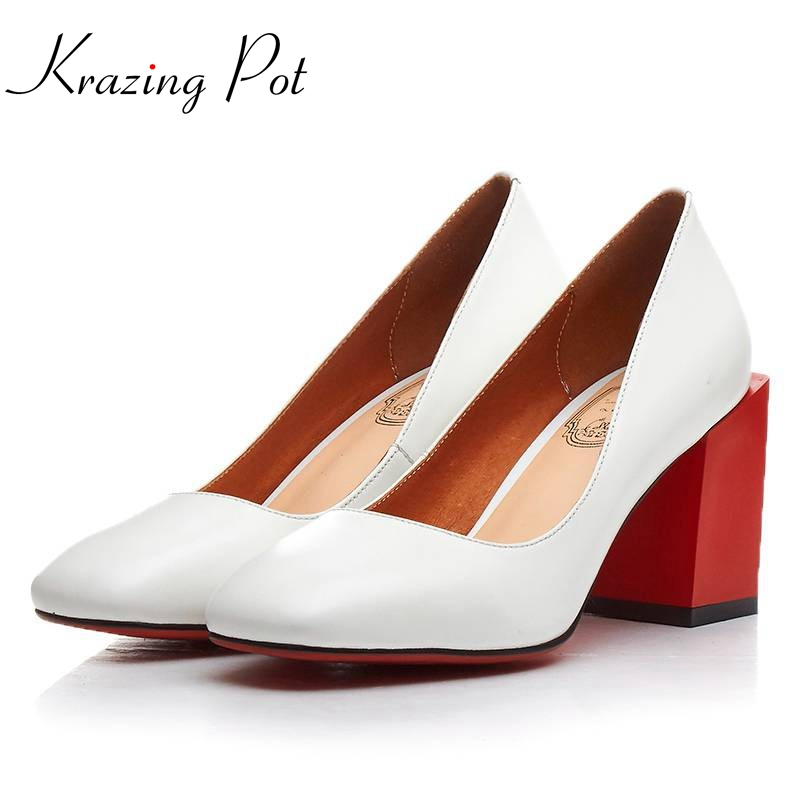 Krazing Pot New fashion brand shoes shallow mixed colors high heels genuine leather women pumps shallow mature high quality L01 hot temperament mature black genuine leather printing womens alphabet retro shoes shallow mouth embossed leather pumps