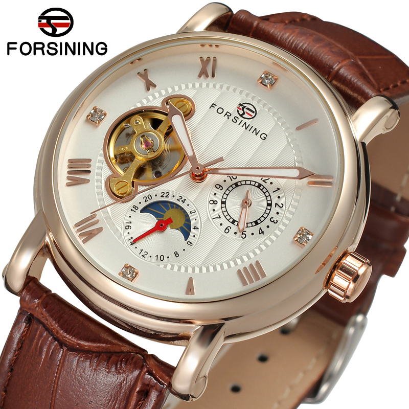 FSG800M3R2 Forsining Automatic fashion business original watch for men with moon phase gift box free shipping best price зарядное устройство avantree hi power dual usb car charger set cgst 09 2100ma usbx2 автомобильное