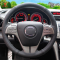 Black Leather Hand-stitched Car Steering Wheel Cover for Mazda 6 2009