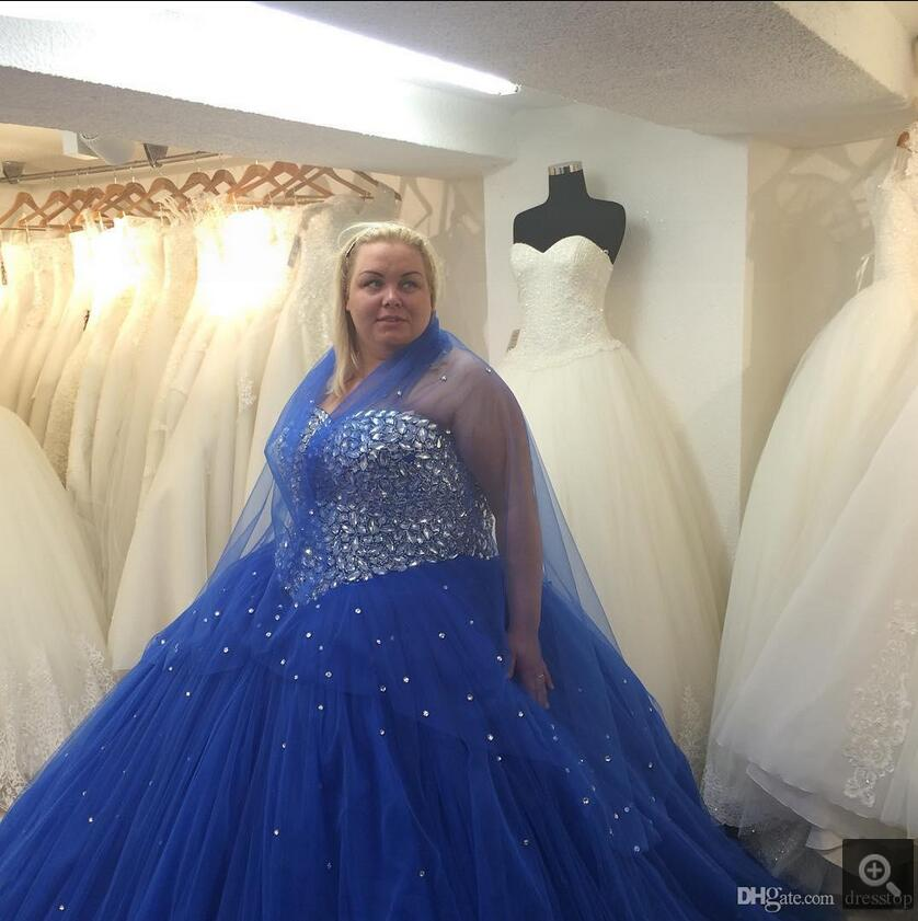 Plus Size Royal Blue Dresses prom gowns Bling Crystals Beaded Tulle ...