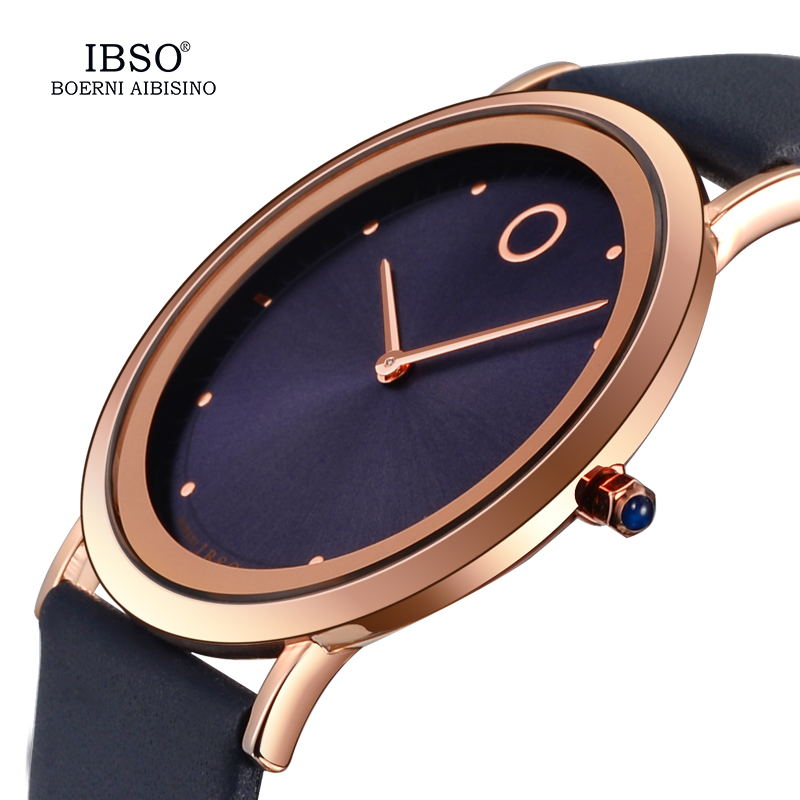 IBSO 7.6MM Ultra Thin Women Watches Top Brand Luxury Quartz Watch Montre Femme 2018 Genuine Leather Strap Women Wrist Watch 8160