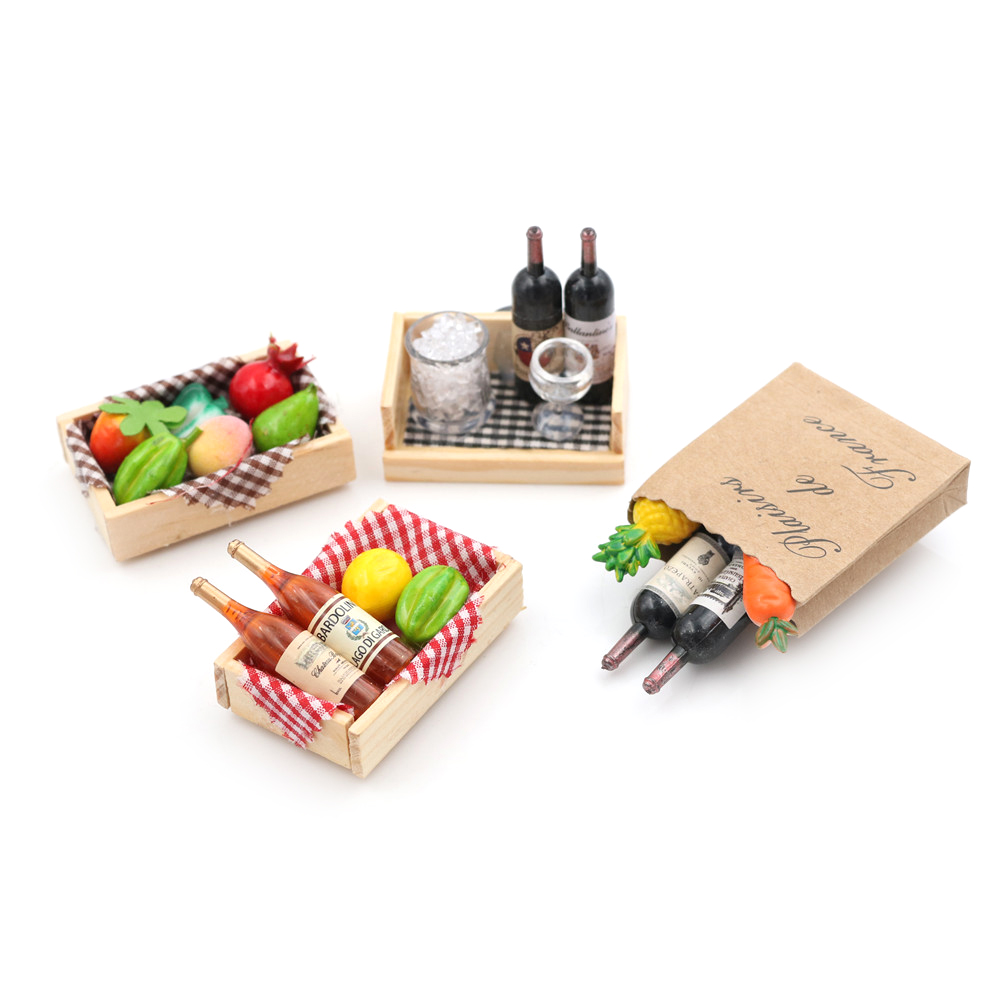 1pc 1:12 4 Styles Dollhouse Miniature Mini Wine Bottles Fruit Box Candy Food Toy Match Collectible Gift