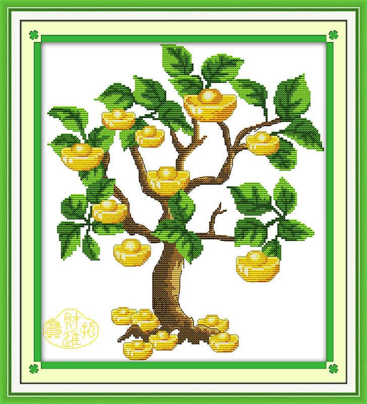 Денежное дерево (3) Набор для вышивки крестом печать сшитая ткань вышивка DIY рукоделие ручной работы