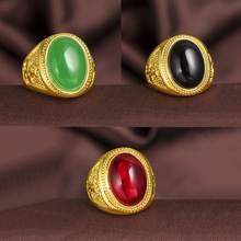 Мужское кольцо на палец классическое с желтым золотом красное/черное/зеленое