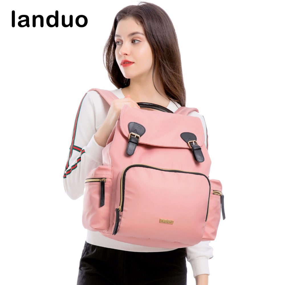 landuo LAND Diaper Bag Fashion Mummy Maternity Nappy Bag Travel Backpack Designer Stroller Baby Bag Leather Buckle Style цена