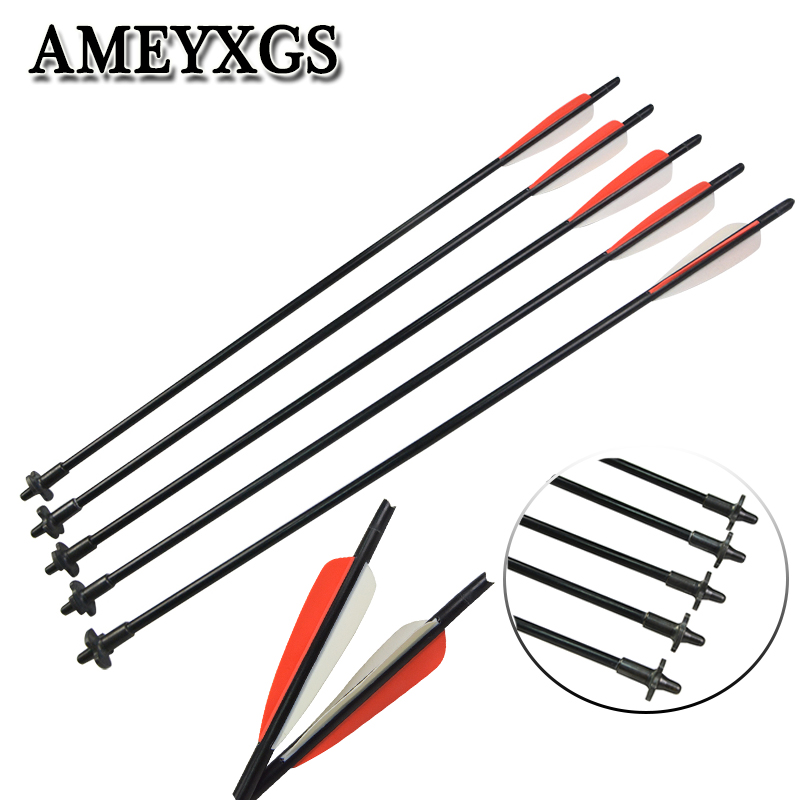 6/12pcs OD 9mm Archery Crossbow Release Bolt Arrow 4inch Water droplets Rubber Feather 60cm Shooting Accessories