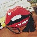 Moda Borla Mulheres Ombro Único Saco Lábios Marca de Couro PU Lady Crossbody Bag Tendência Coreano Mulheres Mini Saco Do Telefone de Pulso B424