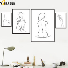 Abstract Line Girl Body Hand Minimalist Wall Art Canvas Painting Nordic Posters And Prints Pictures For Living Room Decor