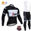 Noir et blanc à manches longues trekking vélo vêtements polaire thermique Ropa Roupa Invierno vtt vélo vêtements hiver cyclisme Jersey