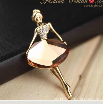 Korea Fashion Perhiasan Ballet Girl Fashion Temperamen Bros Crystal Grosir Broches Perhiasan Fashion Bros untuk Wanita