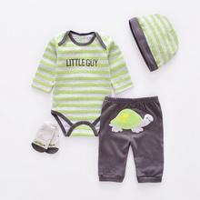 Śliczne w zwierzęcym stylu zestawy ubrań dla niemowląt bawełniane ubrania chłopięce garnitur dziewczynka noworodek 4 szt Garnitur z długim rękawem niemowlęce body + spodnie + skarpetki + czapka tanie tanio NoEnName_Null Moda COTTON Suknem REGULAR O-neck Unisex Płaszcz Pasuje prawda na wymiar weź swój normalny rozmiar Dziecko