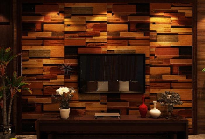 Wood Mosaic Tiles Interior Wall Tiles Tv Background Mosaic