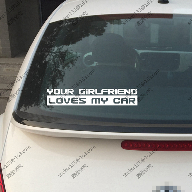 30cm long your girlfriend loves my car funny vinyl car decal bumper sticker