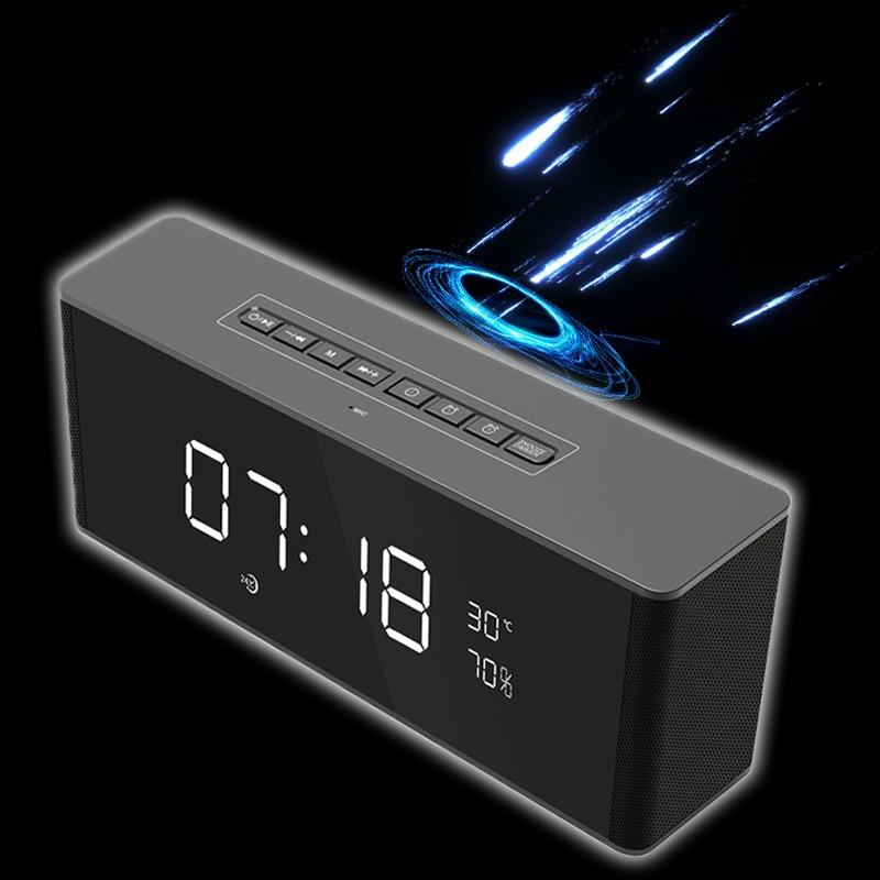 цена на Portable Audio Wireless Bluetooth Speaker Mirror Display Subwoofer Bluetooth Gbl Column TV Soundbar MP3 Alarm Clock Speaker