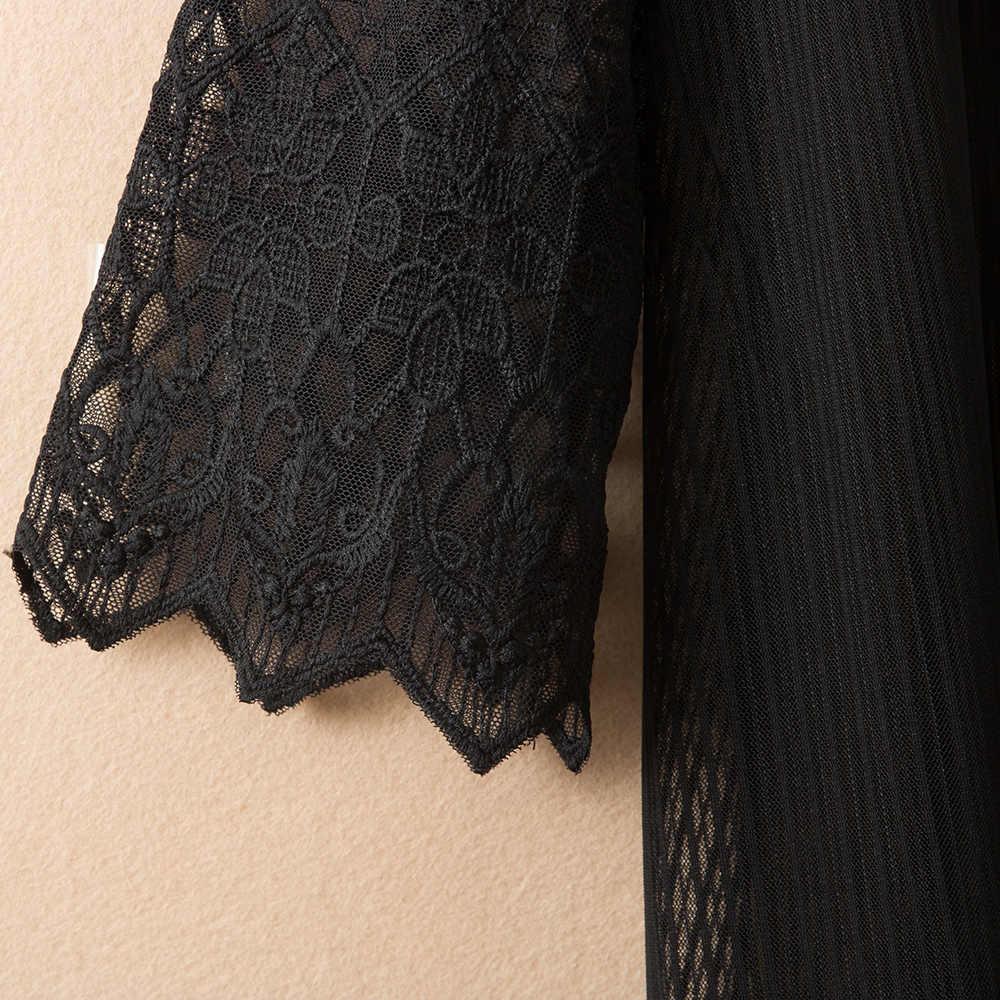 Na co dzień kurtka Casaco Feminino nowy 2018 lato jesień cienkie pół rękaw Patchwork długi koronki płaszcz odzież wierzchnia plus size kobiet