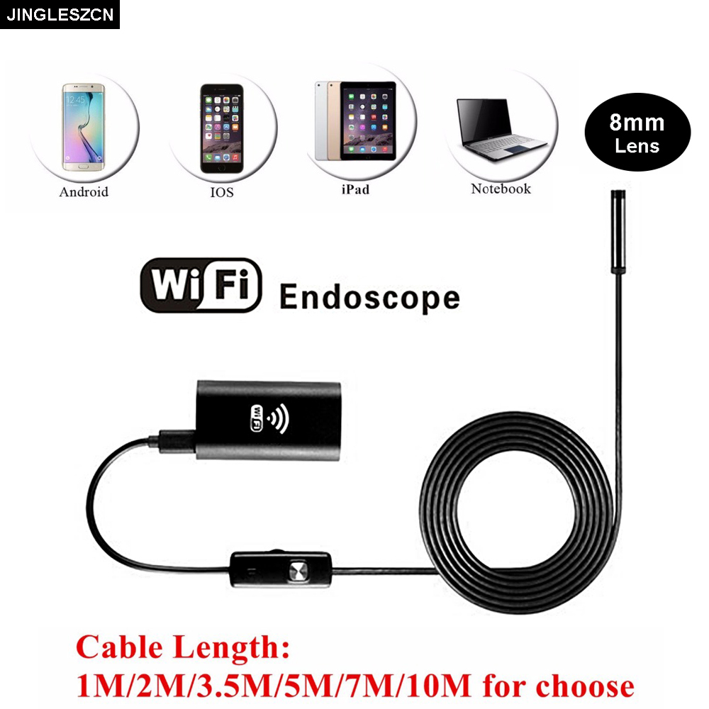 JINGLESZCN Wifi Endoscope 8mm Lens 1/1.5/2/3.5/5/10m Waterproof Borescope Inspection USB Camera Snake Video Cam For Android PC